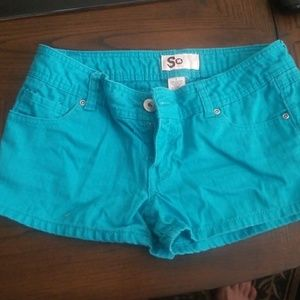 Pants - Torquoise jean shorts